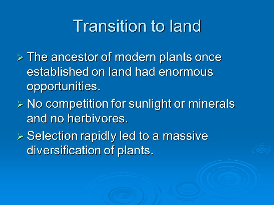 Transition to land The ancestor of modern plants once established on land had enormous opportunities.