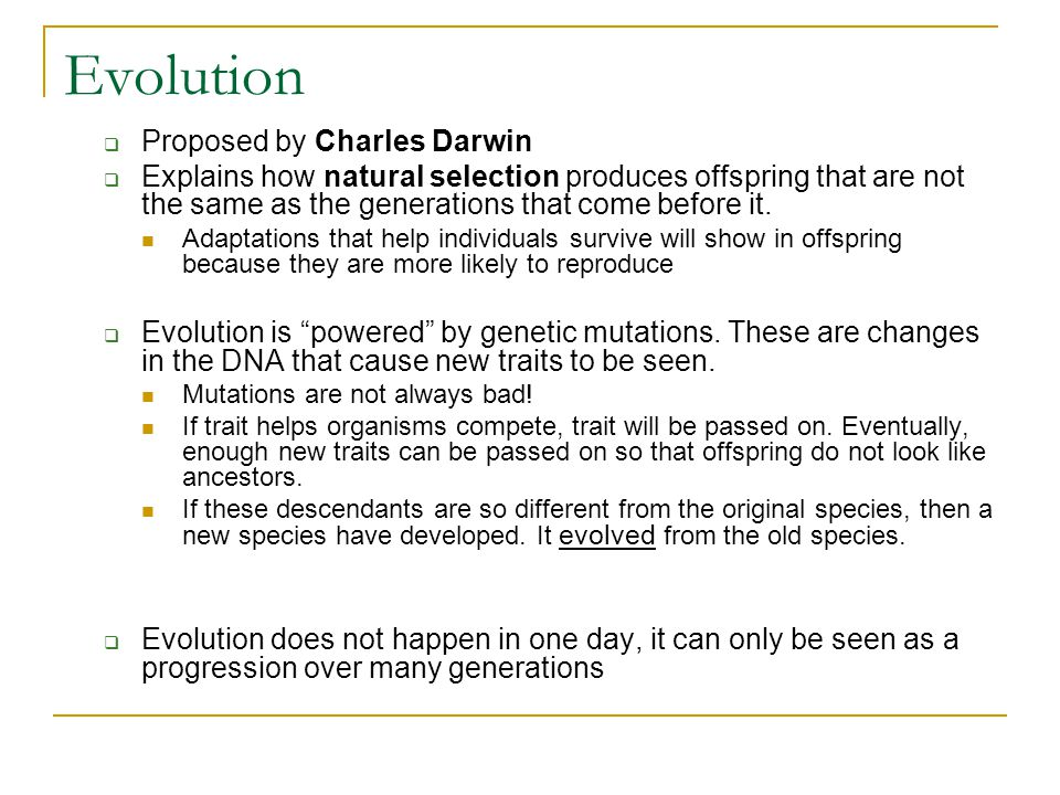 Evolution Proposed by Charles Darwin