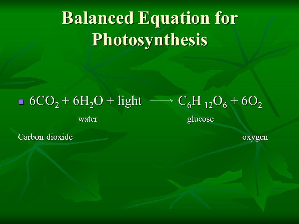 Balanced Equation for Photosynthesis