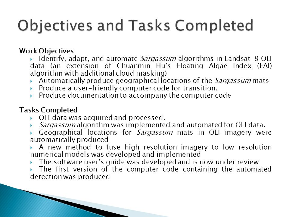 Objectives and Tasks Completed