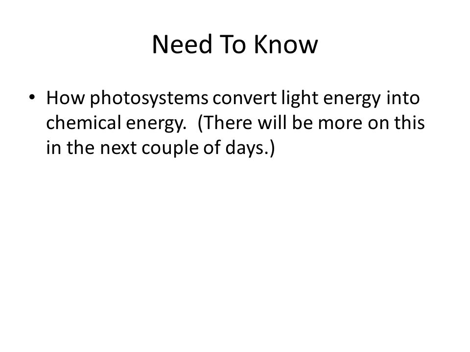 Need To Know How photosystems convert light energy into chemical energy.
