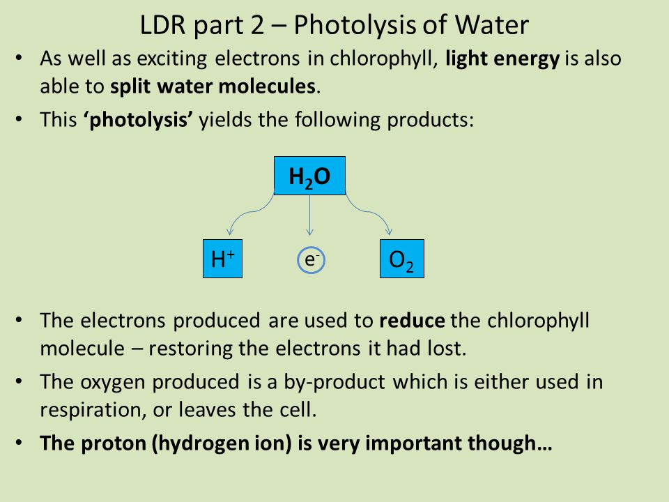 LDR part 2 – Photolysis of Water