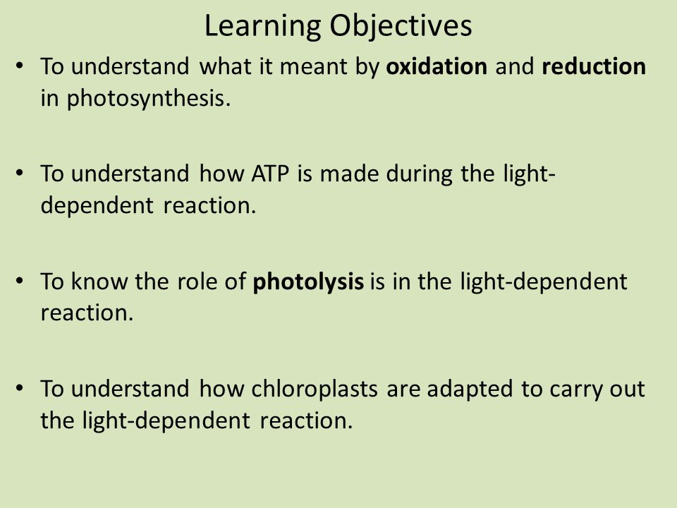 Learning Objectives To understand what it meant by oxidation and reduction in photosynthesis.