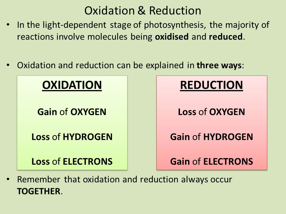 Oxidation & Reduction OXIDATION REDUCTION Gain of OXYGEN