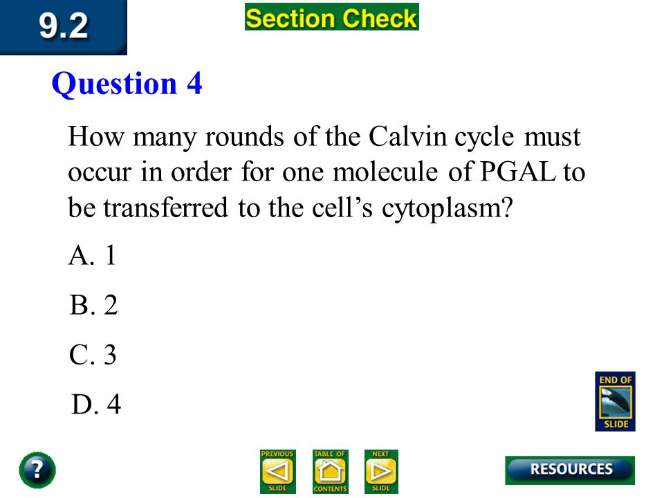 Question 4 How many rounds of the Calvin cycle must occur in order for one molecule of PGAL to be transferred to the cell's cytoplasm