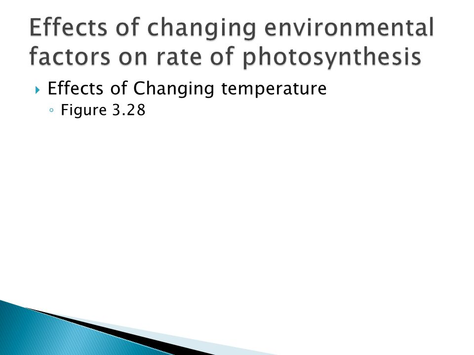 Effects of changing environmental factors on rate of photosynthesis