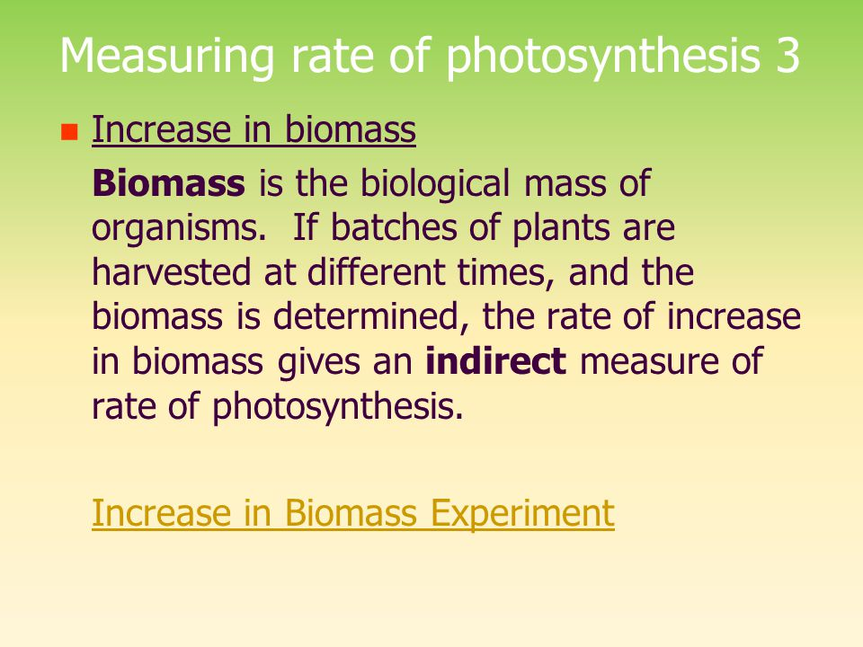 Measuring rate of photosynthesis 3