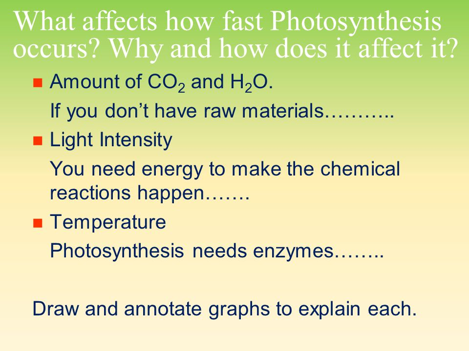 What affects how fast Photosynthesis occurs