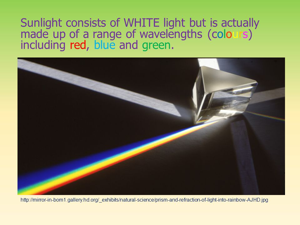 Sunlight consists of WHITE light but is actually made up of a range of wavelengths (colours) including red, blue and green.