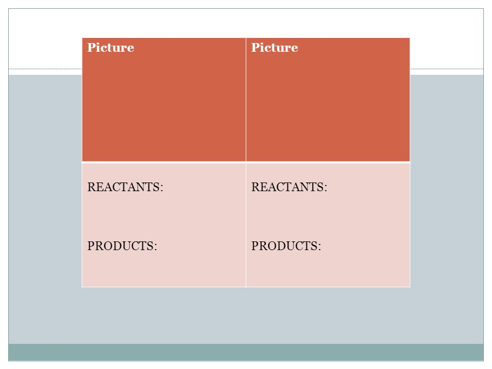 Picture REACTANTS: PRODUCTS: