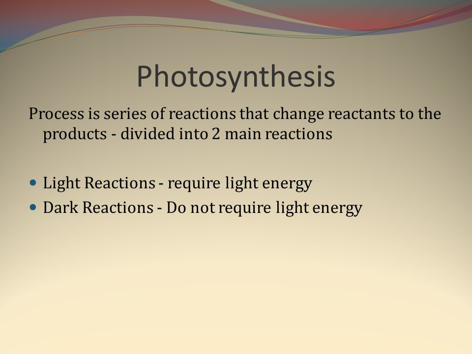 Photosynthesis Process is series of reactions that change reactants to the products - divided into 2 main reactions