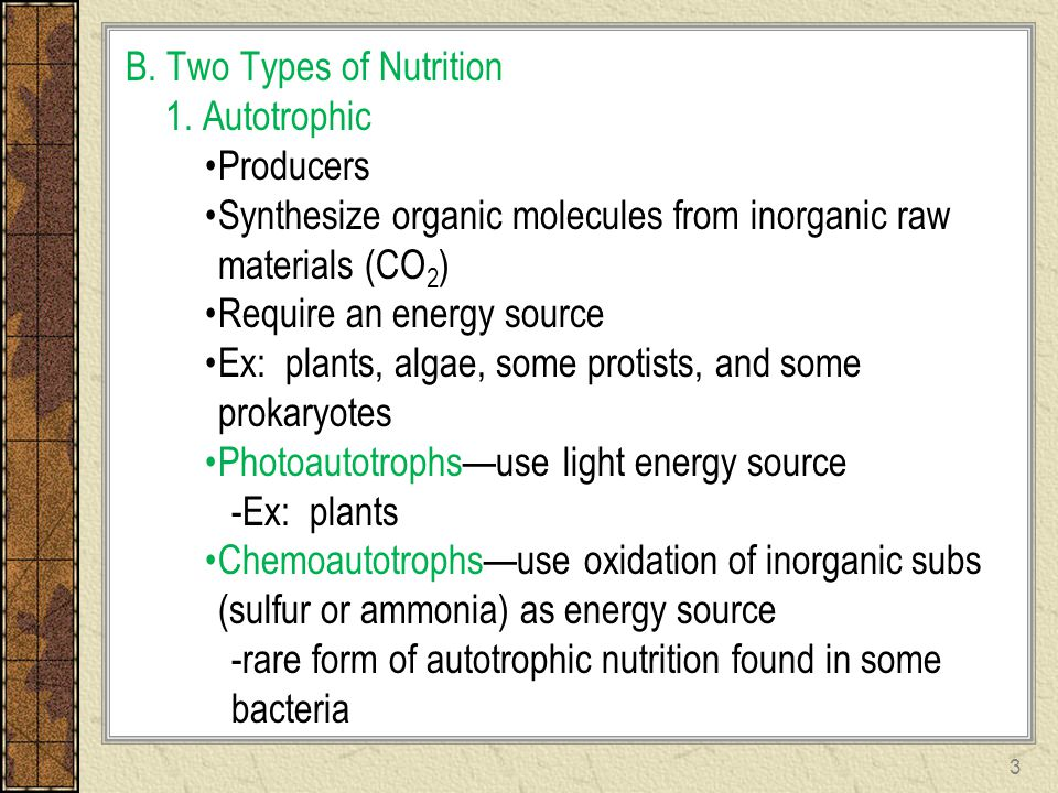 B. Two Types of Nutrition