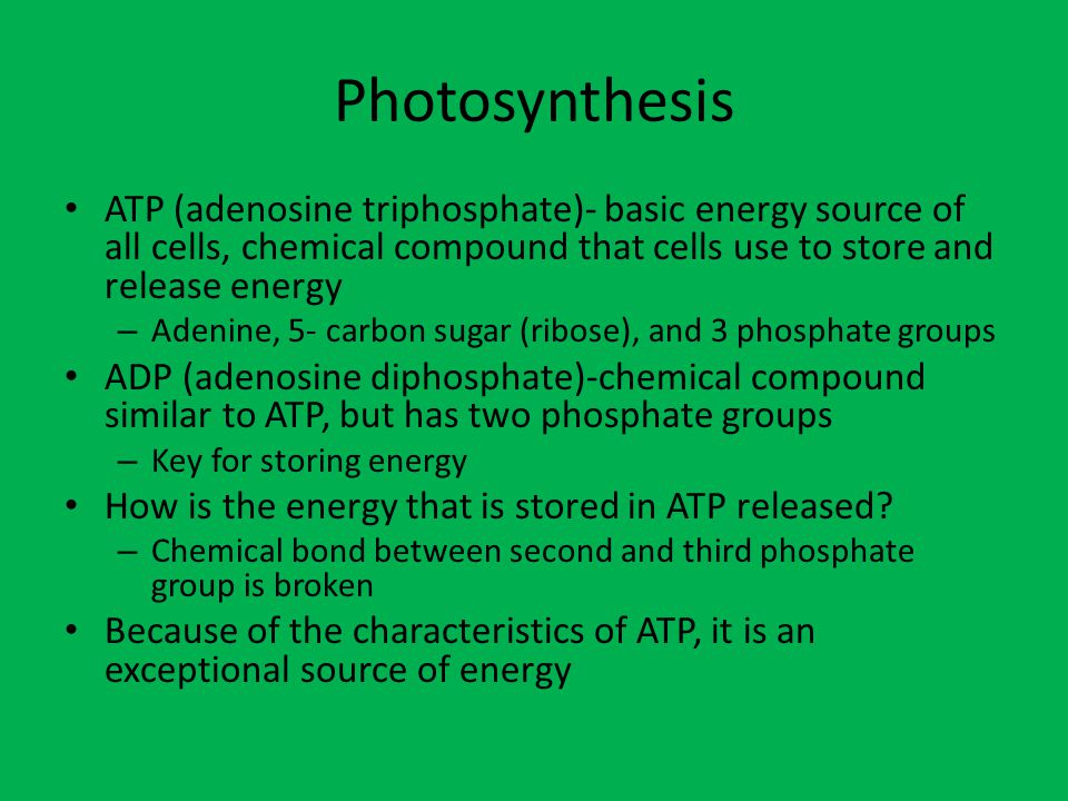 Photosynthesis ATP (adenosine triphosphate)- basic energy source of all cells, chemical compound that cells use to store and release energy.