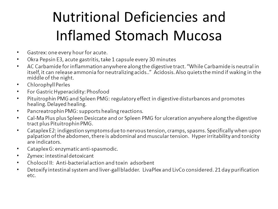 Nutritional Deficiencies and Inflamed Stomach Mucosa
