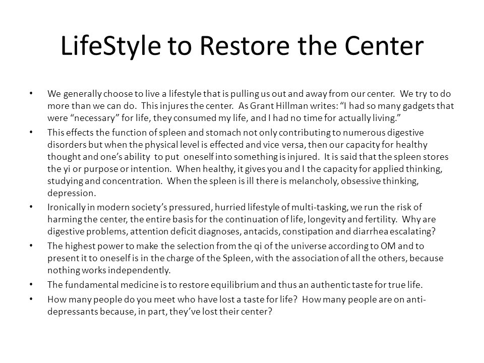 LifeStyle to Restore the Center