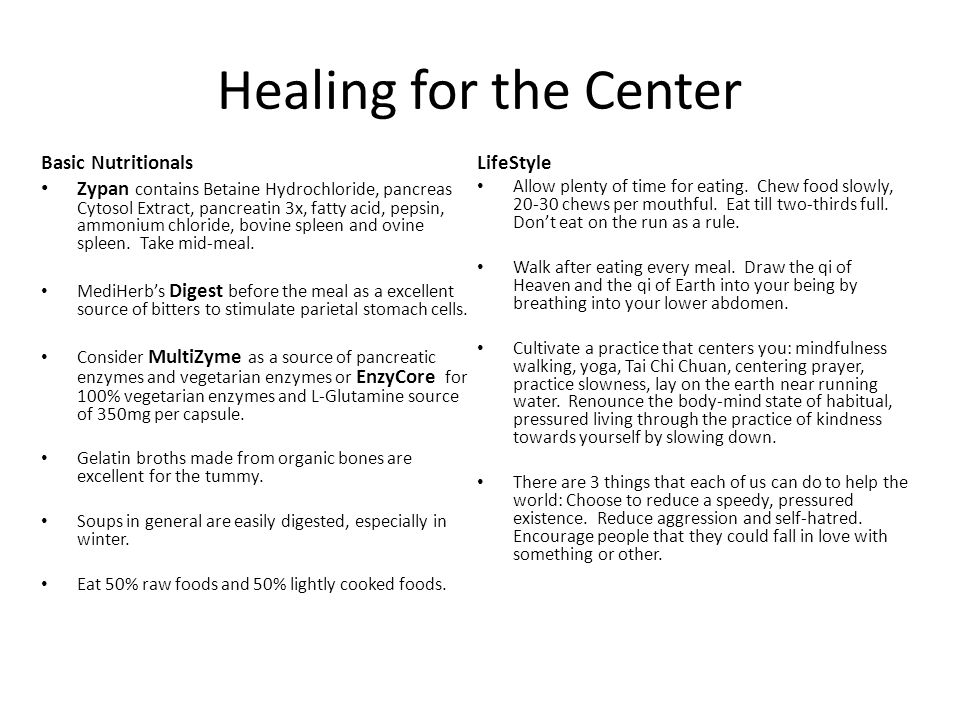 Healing for the Center Basic Nutritionals LifeStyle