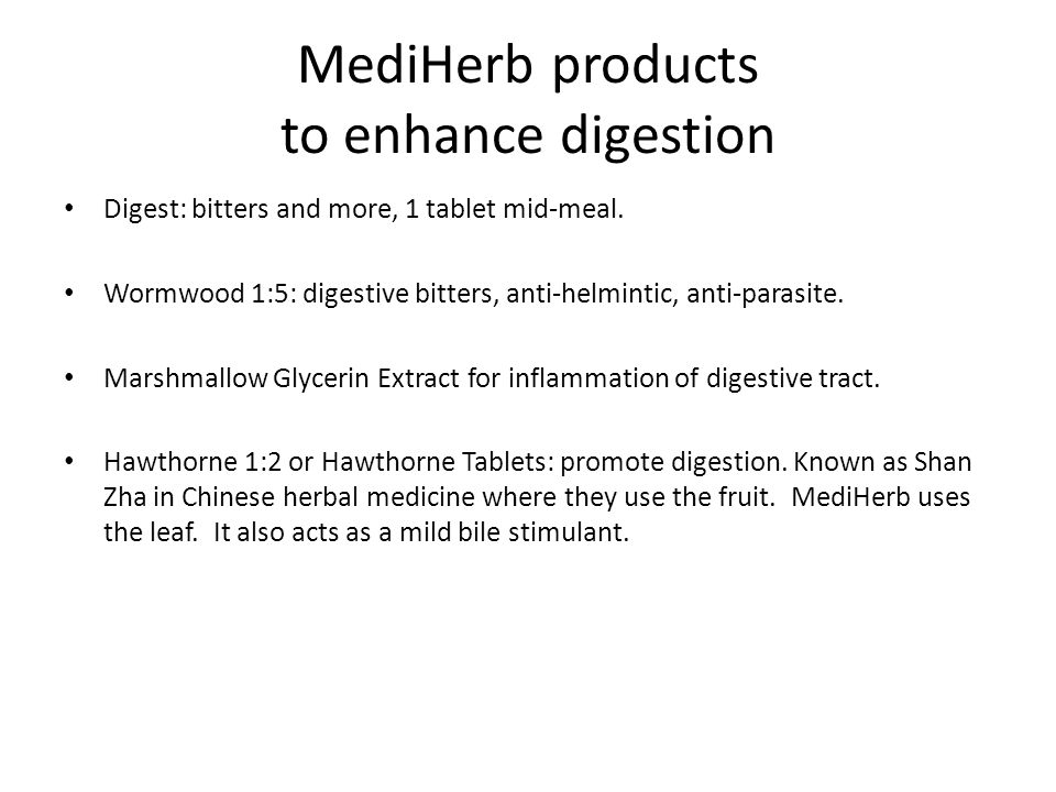 MediHerb products to enhance digestion