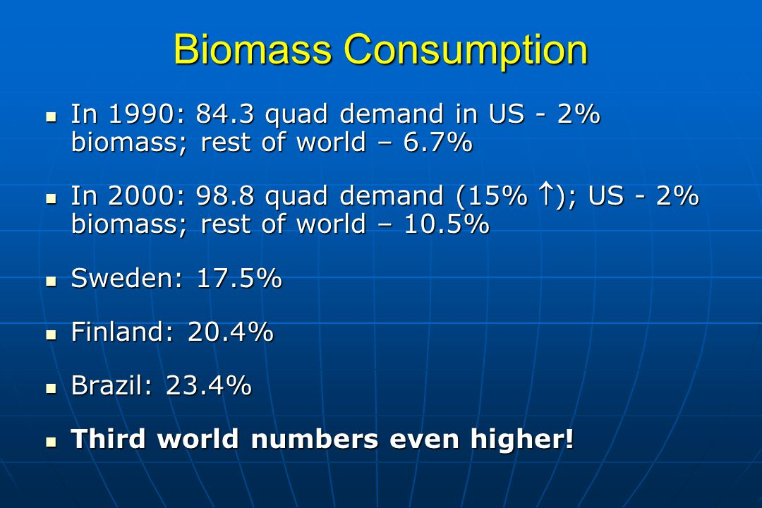 Biomass Consumption In 1990: 84.3 quad demand in US - 2% biomass; rest of world – 6.7%