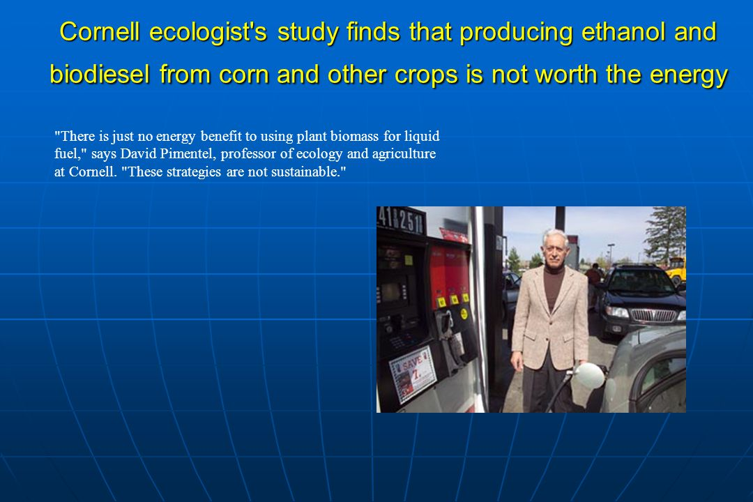 Cornell ecologist s study finds that producing ethanol and biodiesel from corn and other crops is not worth the energy