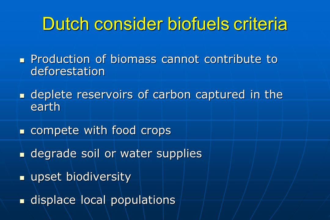Dutch consider biofuels criteria