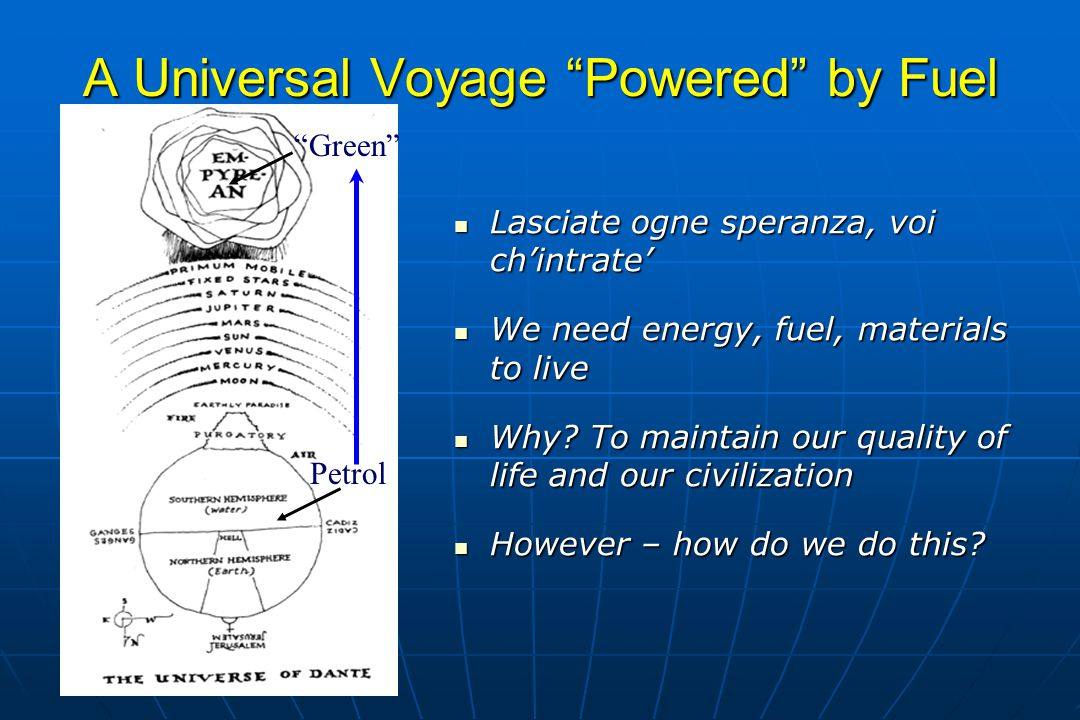 A Universal Voyage Powered by Fuel