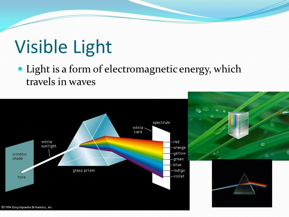Visible Light Light is a form of electromagnetic energy, which travels in waves.