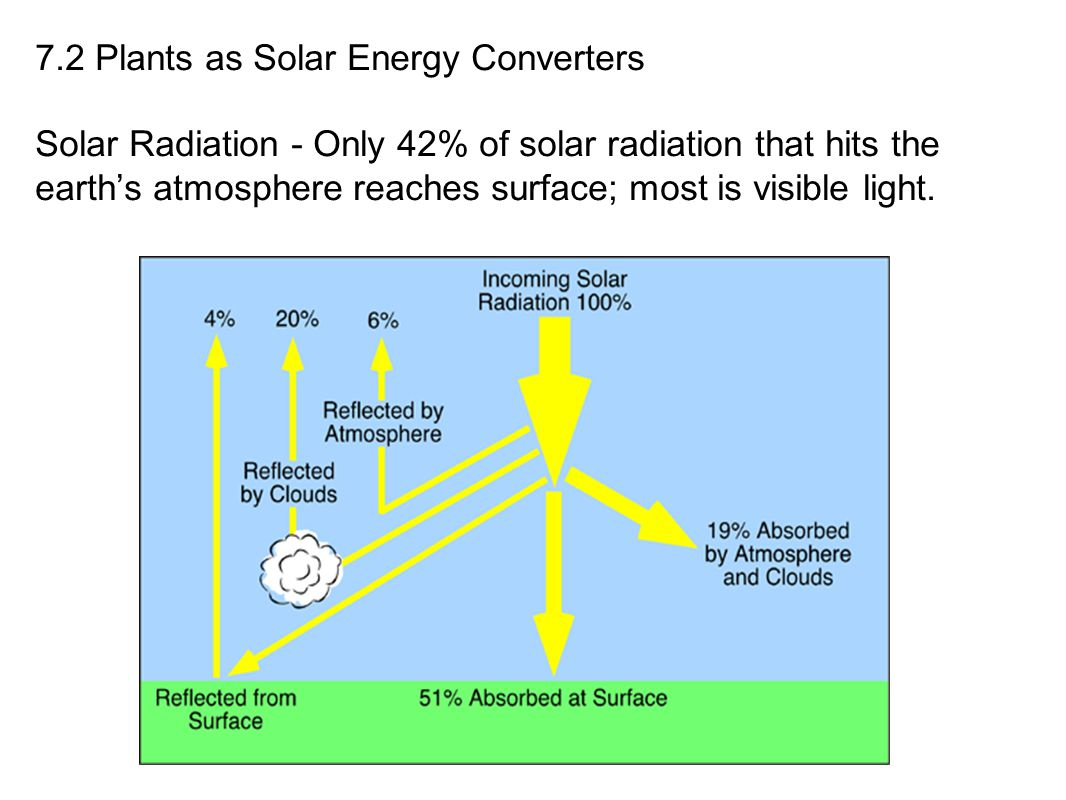 7.2 Plants as Solar Energy Converters Solar Radiation - Only 42% of solar radiation that hits the earth's atmosphere reaches surface; most is visible light.