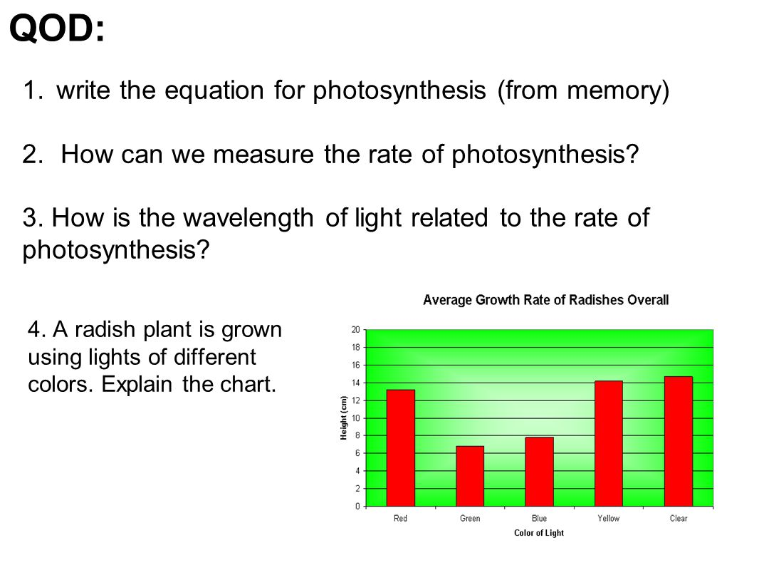 QOD: write the equation for photosynthesis (from memory)