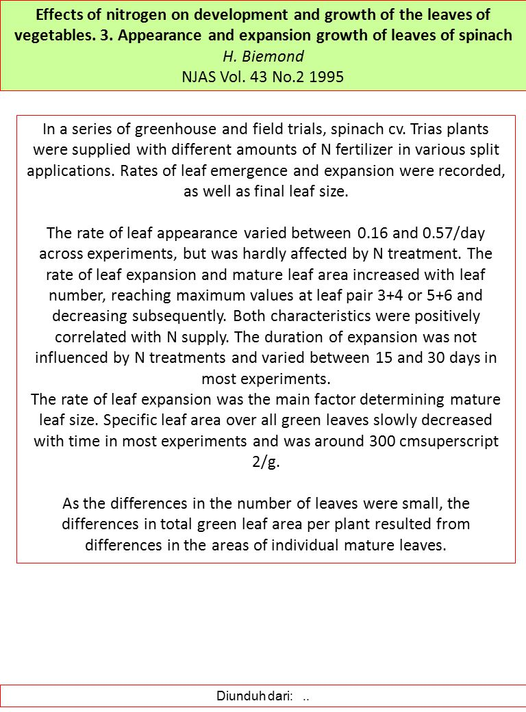 Effects of nitrogen on development and growth of the leaves of vegetables. 3. Appearance and expansion growth of leaves of spinach