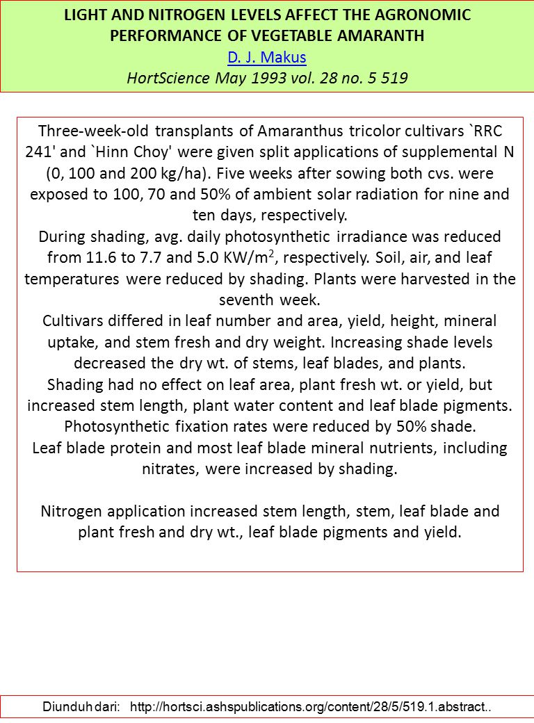 LIGHT AND NITROGEN LEVELS AFFECT THE AGRONOMIC PERFORMANCE OF VEGETABLE AMARANTH