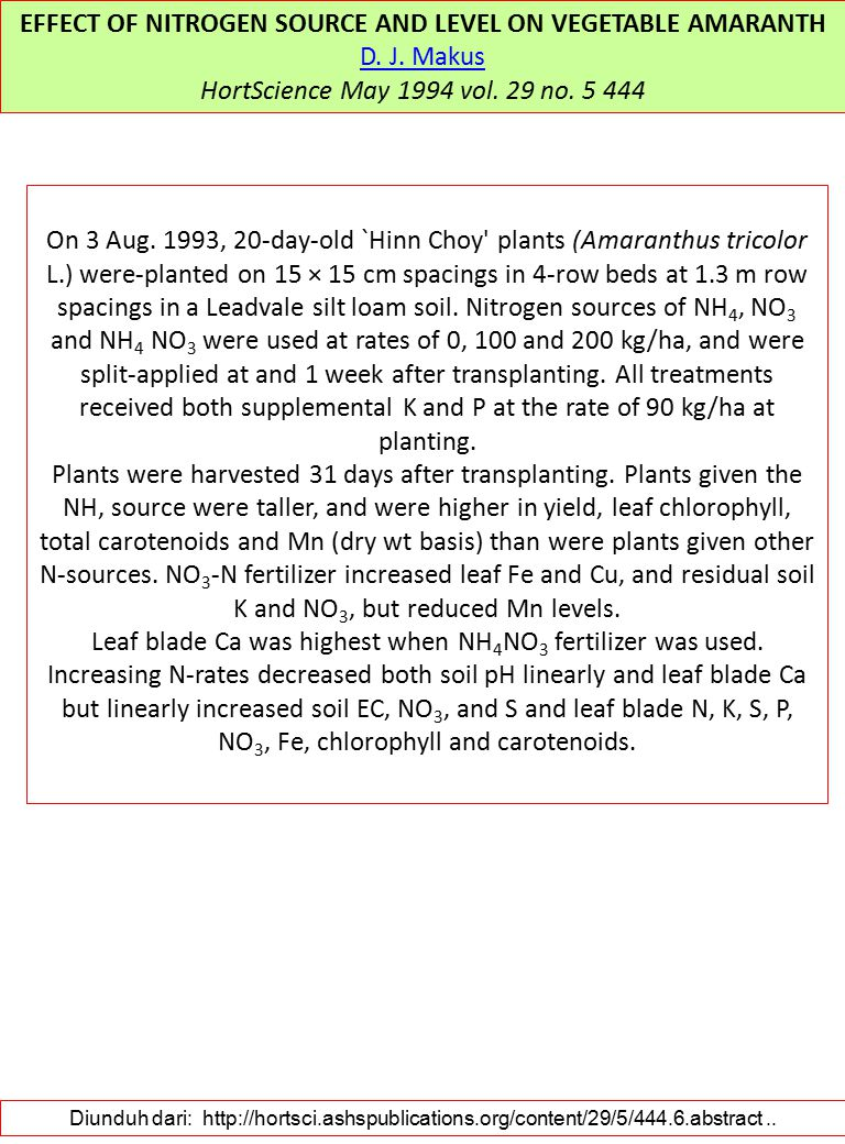 EFFECT OF NITROGEN SOURCE AND LEVEL ON VEGETABLE AMARANTH