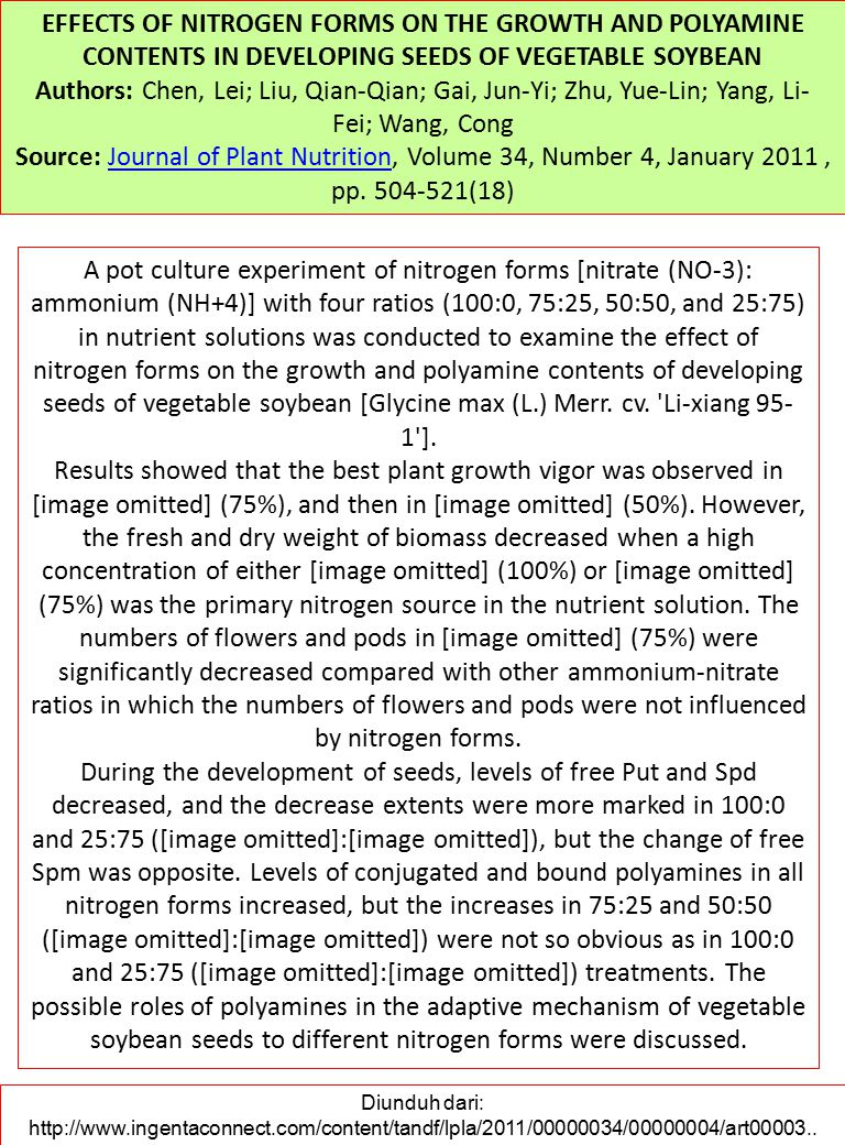 EFFECTS OF NITROGEN FORMS ON THE GROWTH AND POLYAMINE CONTENTS IN DEVELOPING SEEDS OF VEGETABLE SOYBEAN