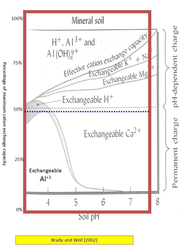100% 75% 50% Percentage of maximum cation exchange capacity.