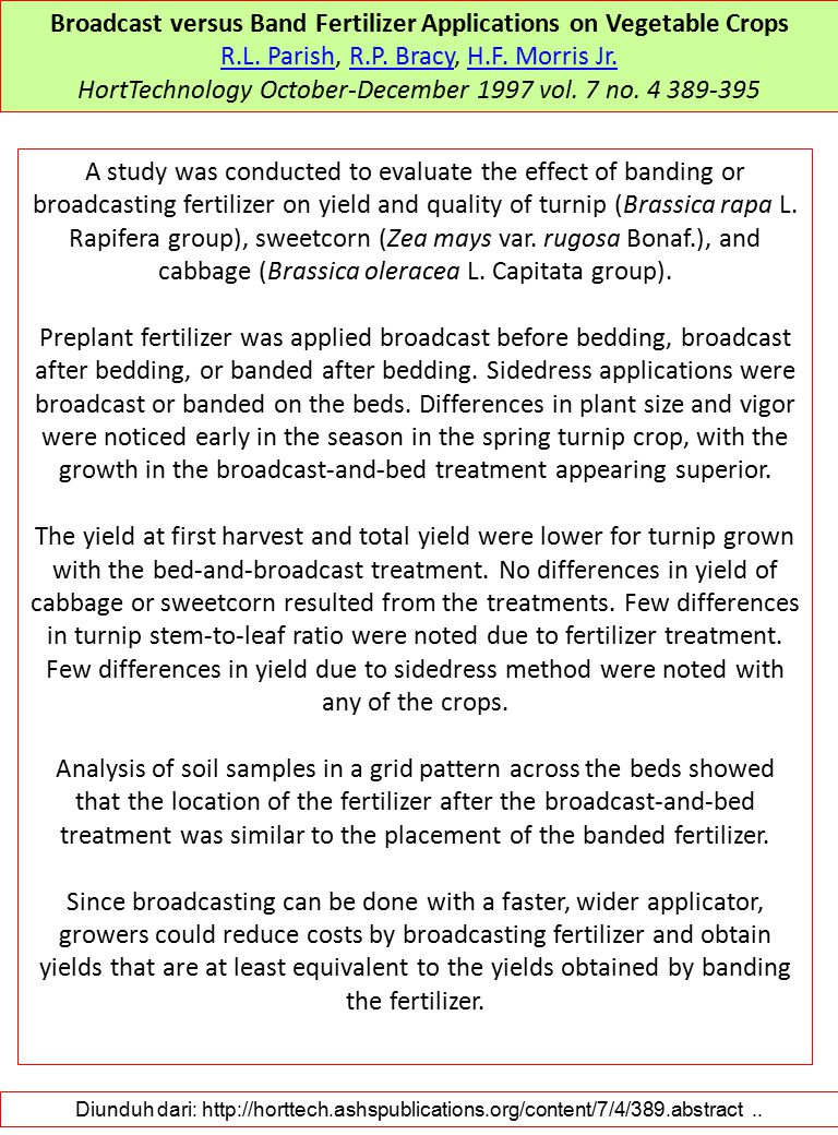 Broadcast versus Band Fertilizer Applications on Vegetable Crops