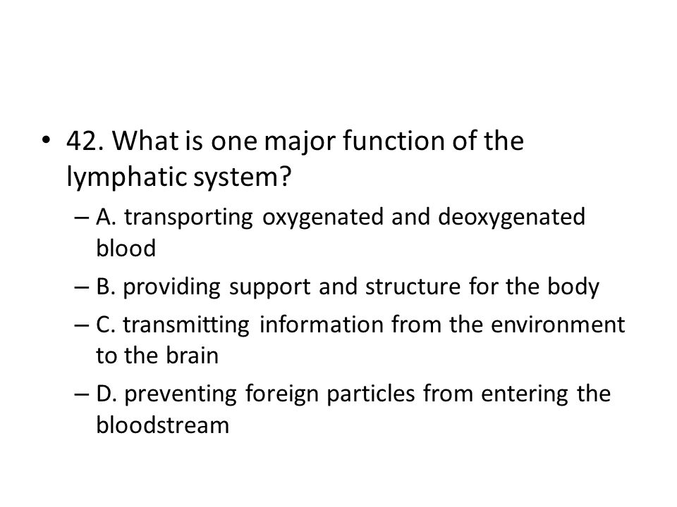 42. What is one major function of the lymphatic system