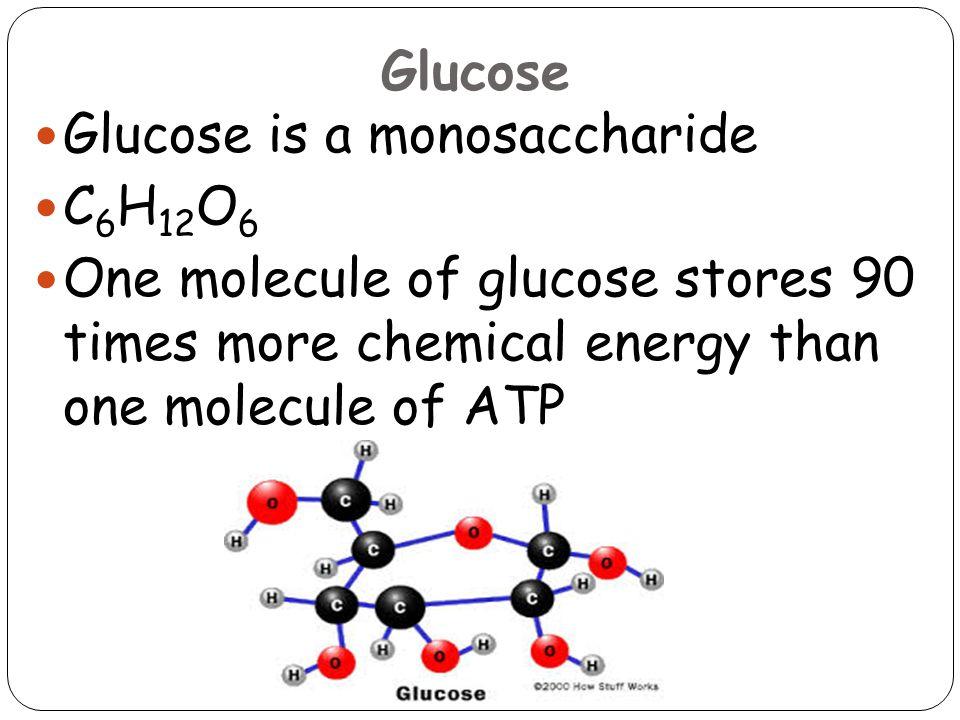 Glucose Glucose is a monosaccharide. C6H12O6.