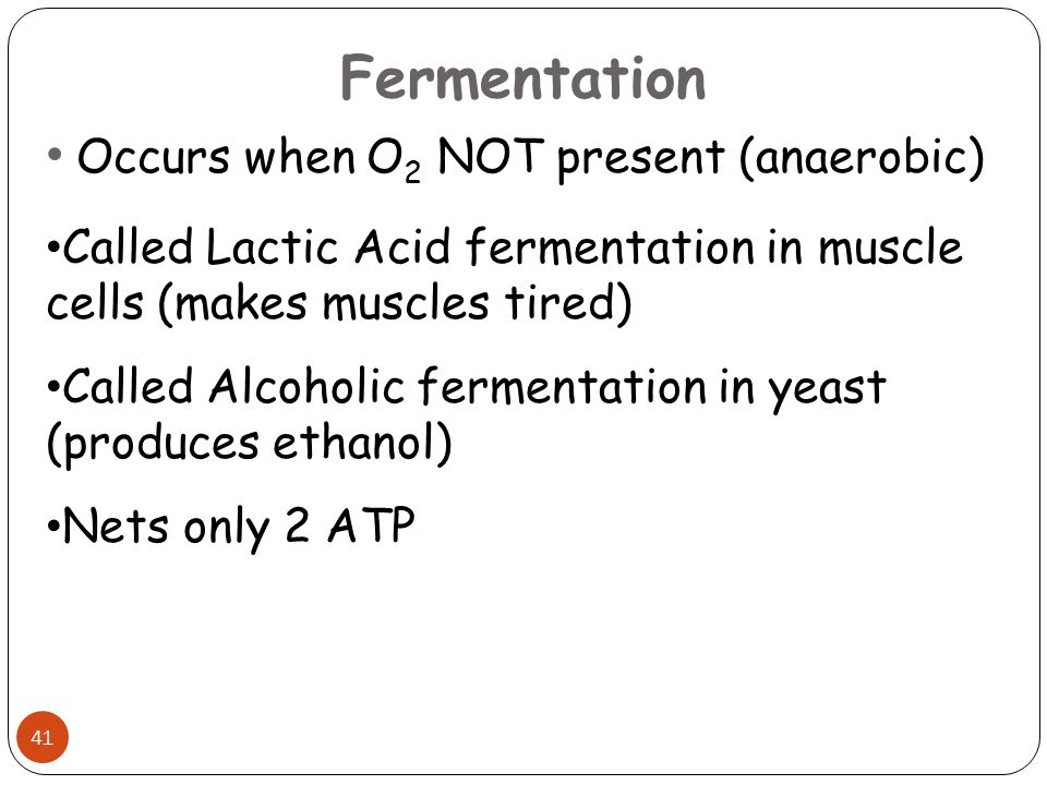 Fermentation Occurs when O2 NOT present (anaerobic)