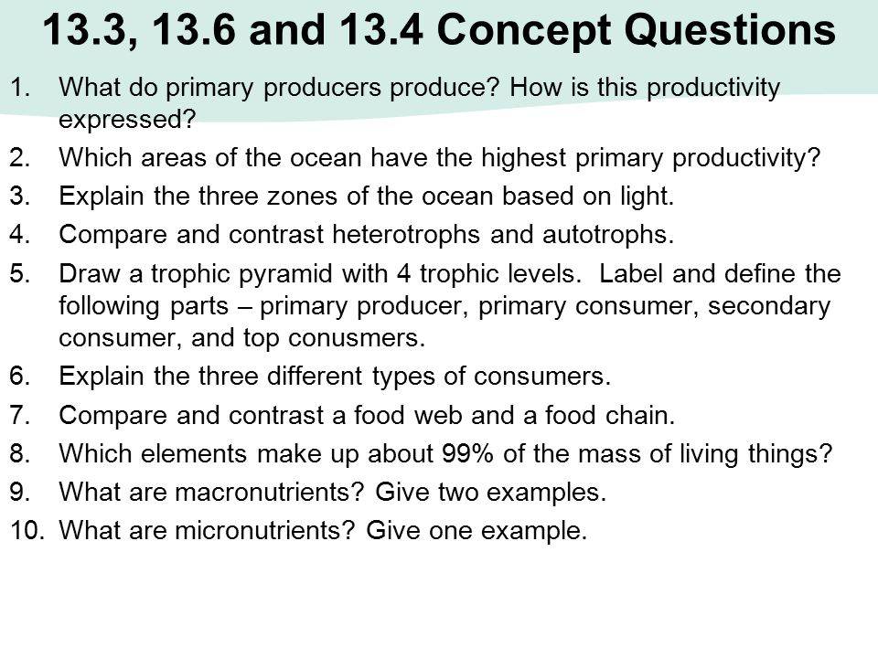 13.3, 13.6 and 13.4 Concept Questions What do primary producers produce How is this productivity expressed