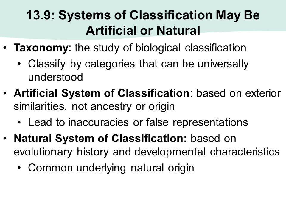 13.9: Systems of Classification May Be Artificial or Natural