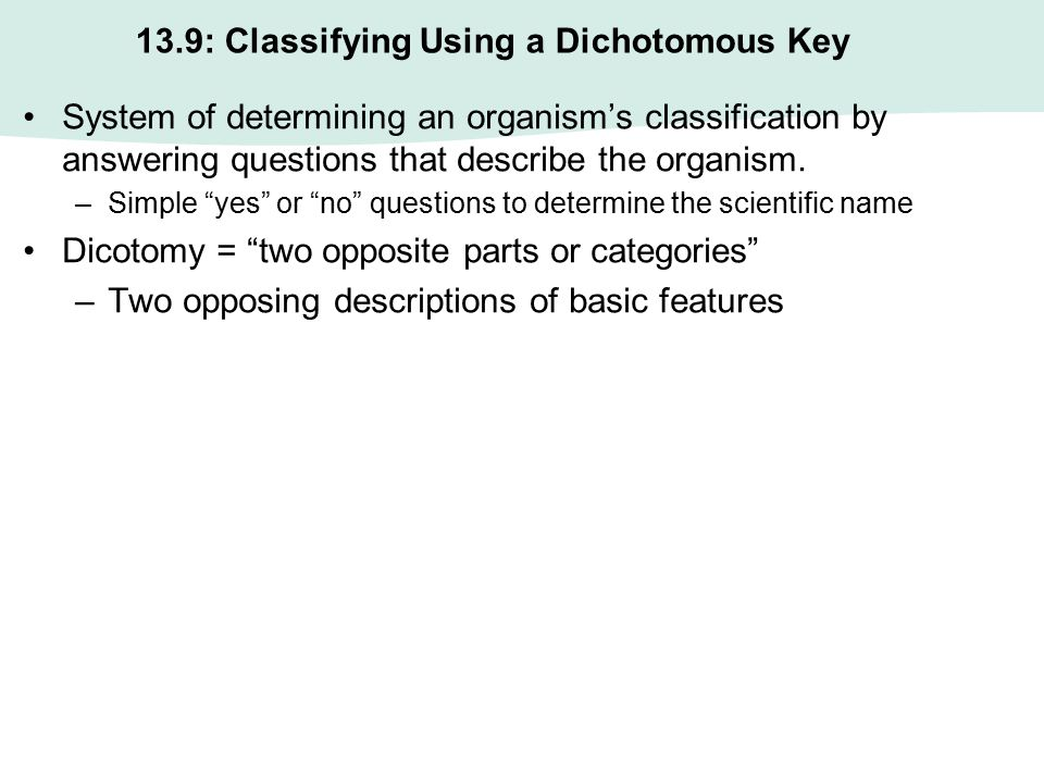 13.9: Classifying Using a Dichotomous Key