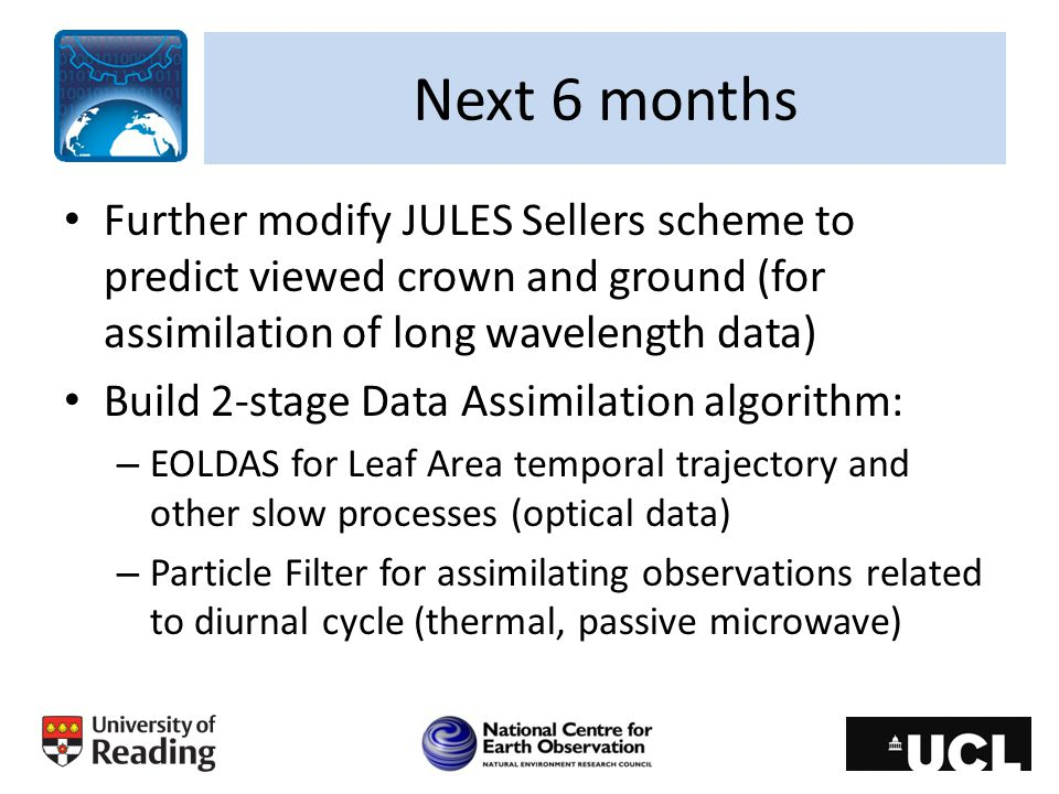 Next 6 months Further modify JULES Sellers scheme to predict viewed crown and ground (for assimilation of long wavelength data)