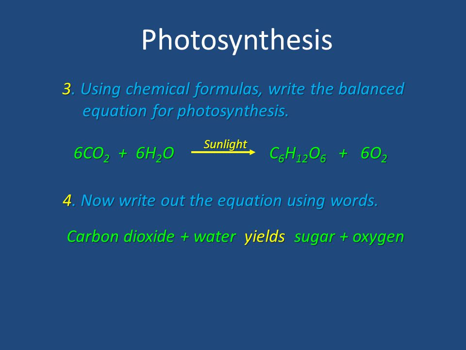 Photosynthesis 3. Using chemical formulas, write the balanced