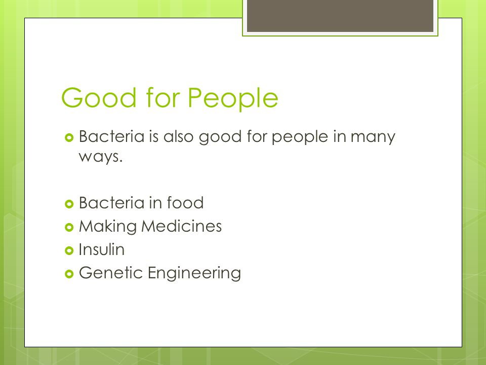 Good for People Bacteria is also good for people in many ways.