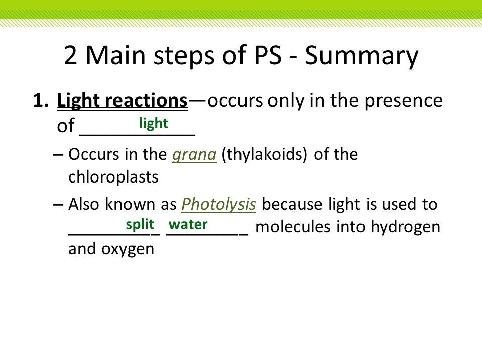 2 Main steps of PS - Summary