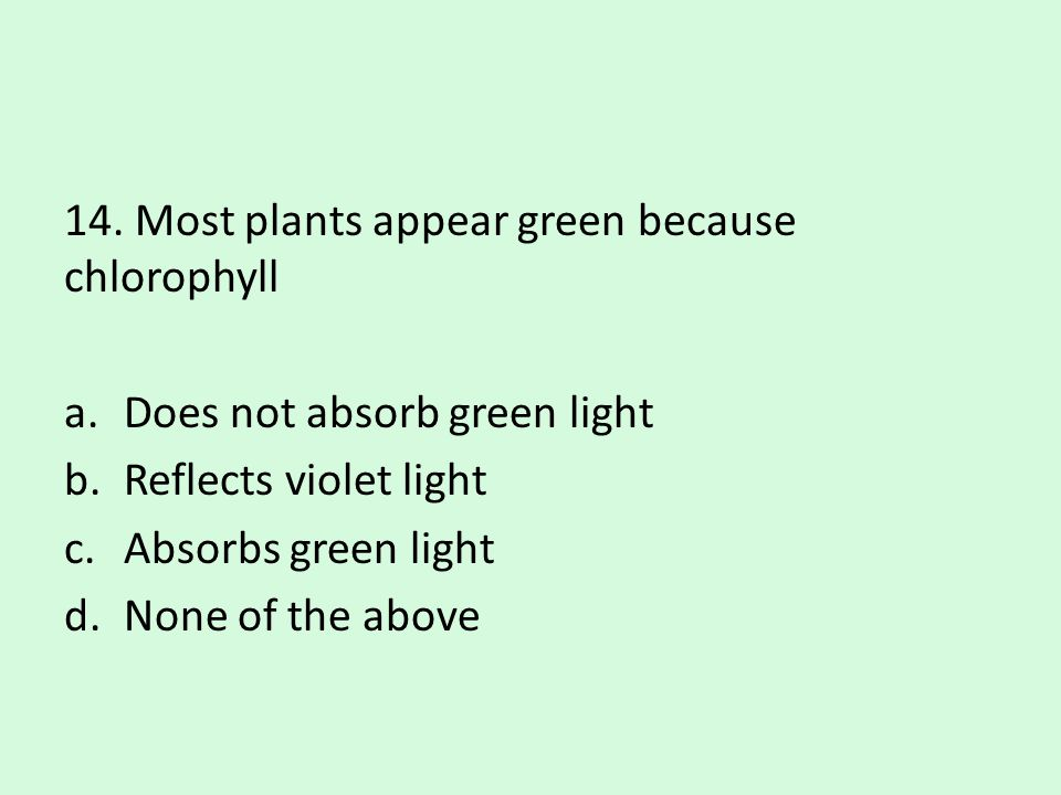 14. Most plants appear green because chlorophyll