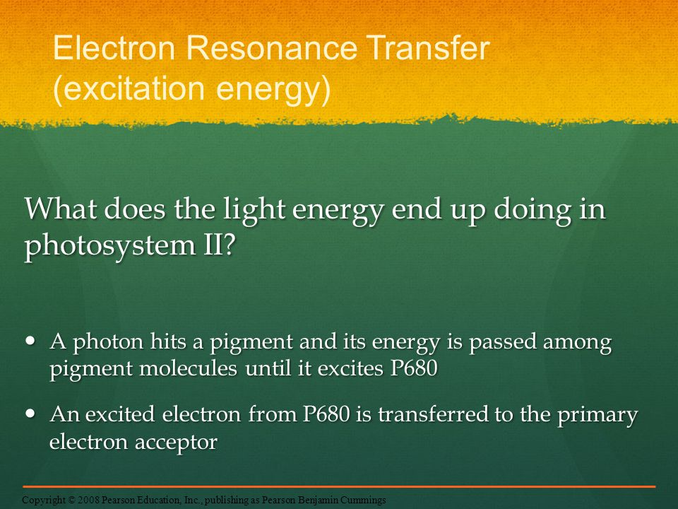 Electron Resonance Transfer (excitation energy)