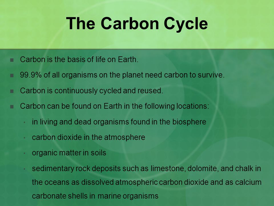 The Carbon Cycle Carbon is the basis of life on Earth.