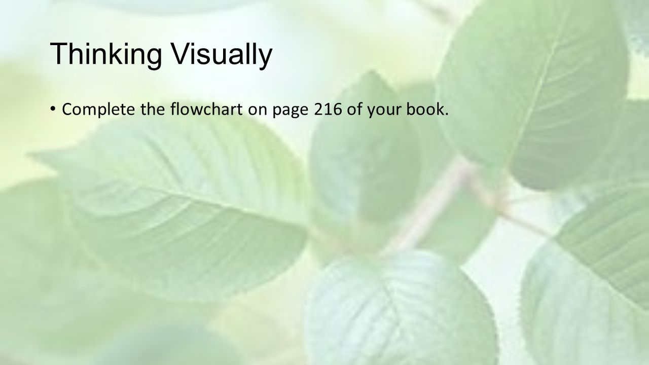 Thinking Visually Complete the flowchart on page 216 of your book.