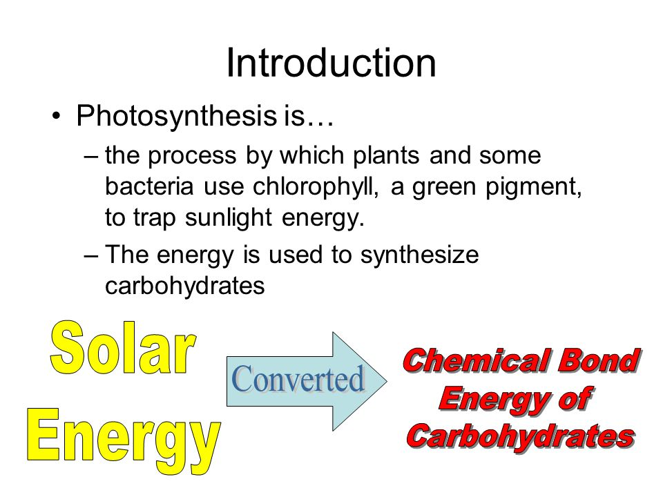 Introduction Solar Energy Chemical Bond Converted Energy of