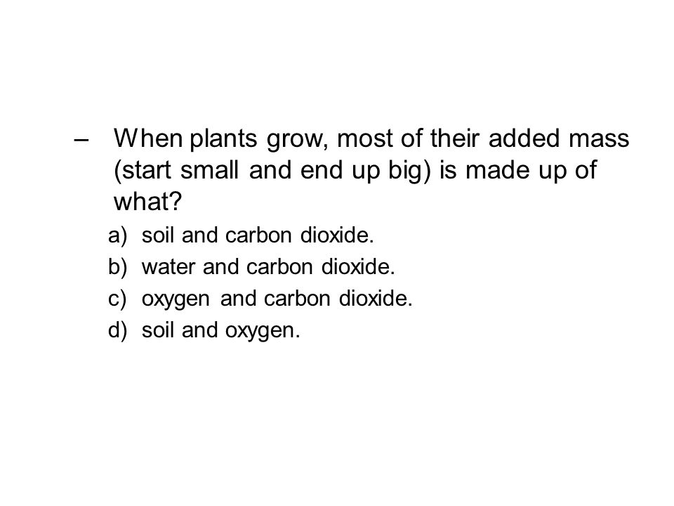 When plants grow, most of their added mass (start small and end up big) is made up of what